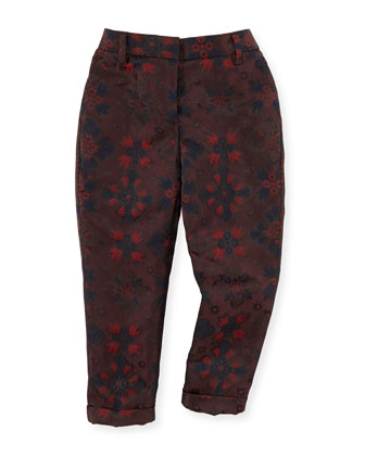 Floral Jacquard Pants, Deep Claret, Sizes 8-14