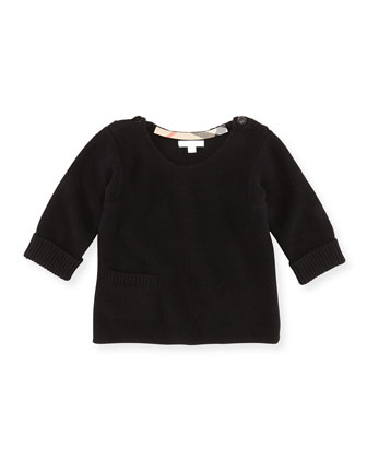 Cashmere Pocket Sweater, Black, 8Y-14Y
