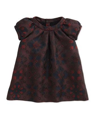 London-Inspired Jacquard Dress, Deep Claret, 2Y-3Y