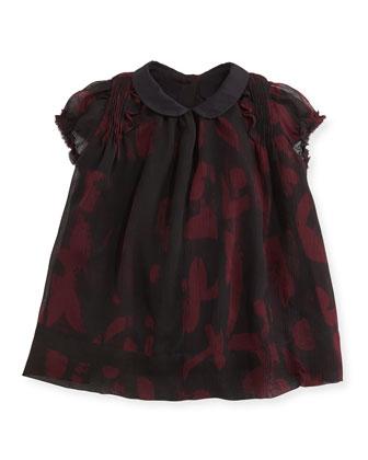 Printed Crinkle-Chiffon Dress, Deep Claret, 3M-3Y