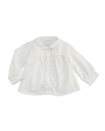 Woven Blouse with Lace-Trim, Off White, 2A-3A