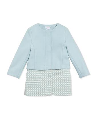 Wool Twill Crochet Two-In-One Coat, Light Blue, 6A-10A