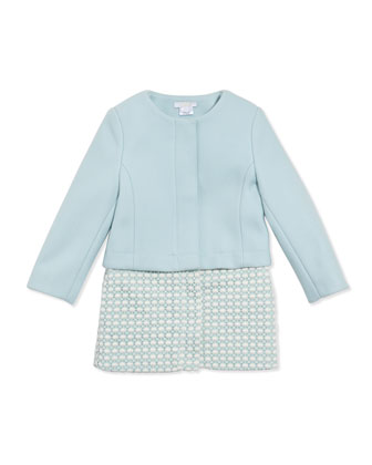 Wool Twill Crochet Two-In-One Coat, Light Blue, 12A-14A