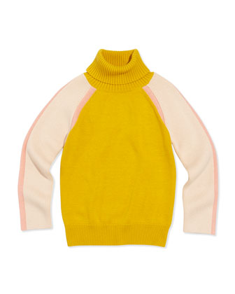 Colorblock Turtleneck Sweater, Mustard