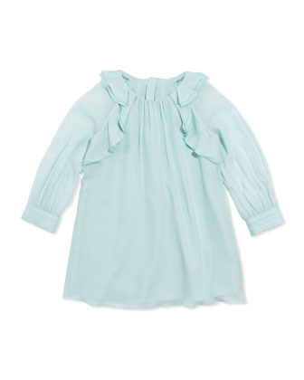 Ruffled Crepe Shift Dress, Aqua, Sizes 2A-5A