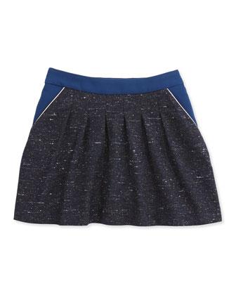 Tweed Skirt W/ Crepe-Trim, Dark Blue, 6A-10A