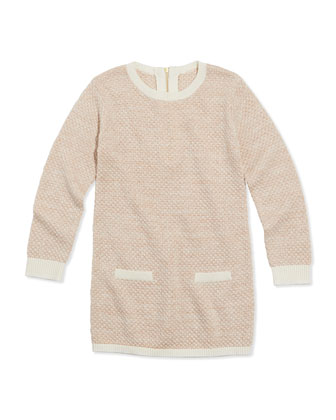 Shimmer Popcorn Knit Sweaterdress, Pink, Sizes 6A-10A