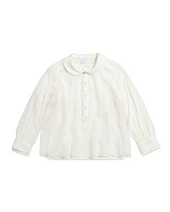 Layered Long-Sleeve Blouse, Off White, Sizes 6-10