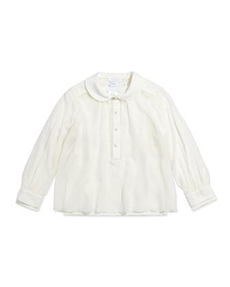 Layered Long-Sleeve Blouse, Off White, Sizes 12-14