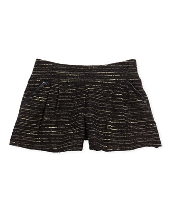 Shimmer Tweed Pleated Shorts, Black, 2A-5A