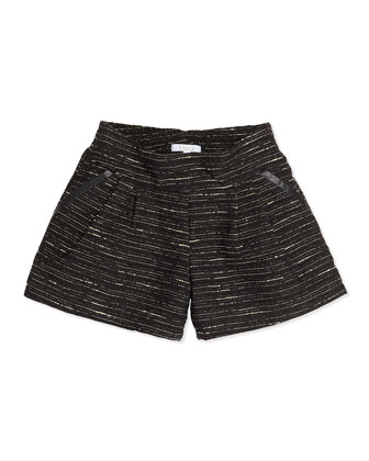 Shimmer Tweed Pleated Shorts, Black, 6A-10A
