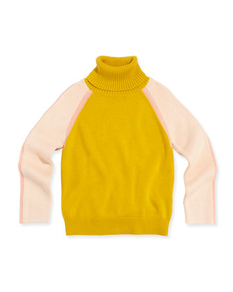 Colorblock Turtleneck Sweater, Mustard, 12A-14A