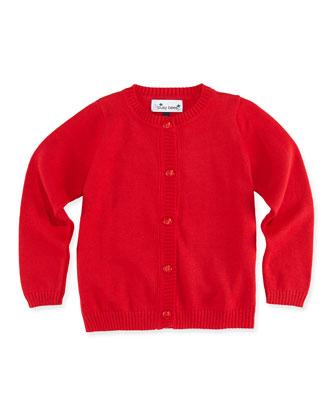 Classic Knit Cardigan, Red, 2Y-12Y