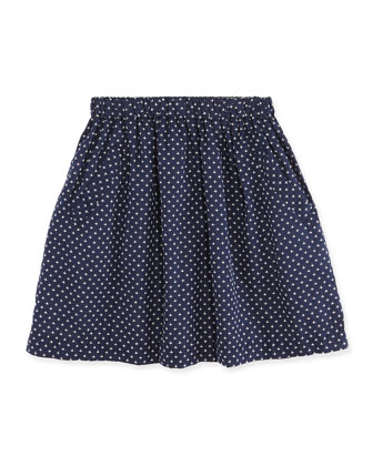 Vivi A-line Stitch-Detail Skirt, Navy/White, 7Y-12Y