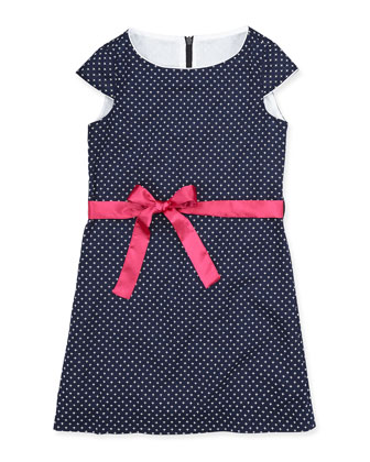 Sabrina Cap-Sleeve Dress, Navy/White, 7Y-12Y
