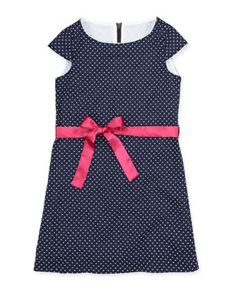 Sabrina Cap-Sleeve Dress, Navy/White, 7Y-12Y