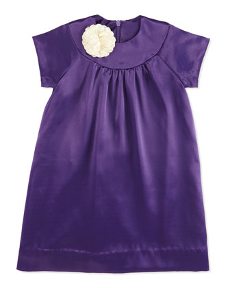 Chloe Satin Shift Dress, Amethyst, 2Y-6Y