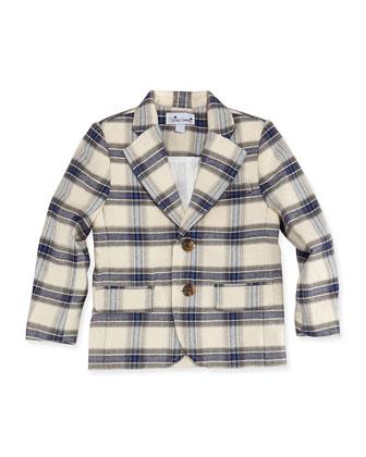 Mac Plaid Blazer, Blue/Cream, Boys' 2Y-12Y