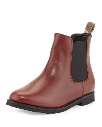 Kids' Leather Ankle Boot, Chestnut
