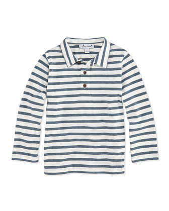 Striped Long-Sleeve Polo, Blue Chambray, 3M-12Y