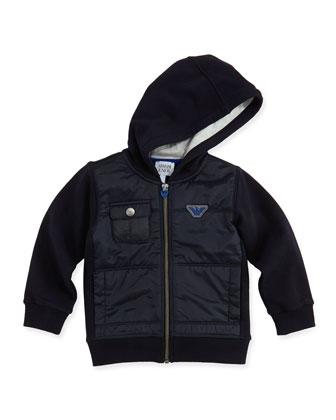 Hooded Jersey Combo Jacket, Navy