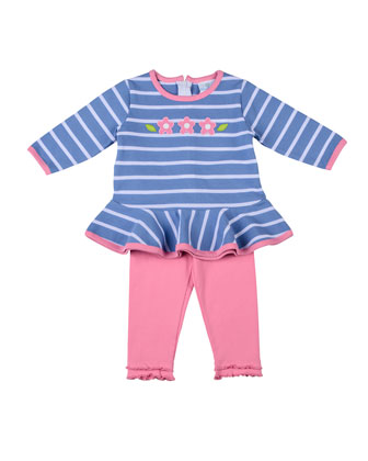 Pink On Blue Tunic & Legging Set, 3-9 Months