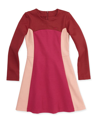 Long-Sleeve Colorblock Ponte Dress, Burgundy/Pink, Sizes 2-5