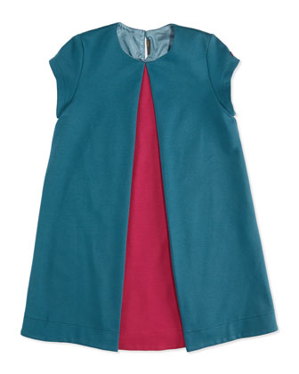 Short-Sleeve Pleated-Front Dress, Teal, Sizes 10-12