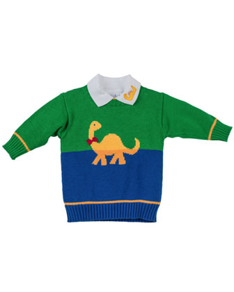Dinosaur-Intarsia Sweater, Royal Green, 12-24 Months