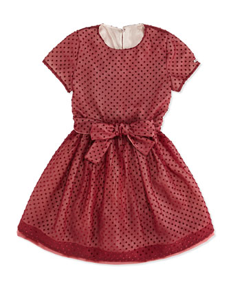 Polka-Dot Tulle Dress, Burgundy, Girls' 10A-12