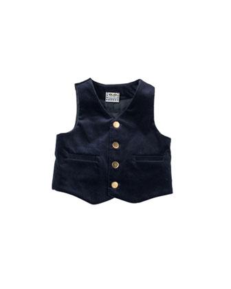 Photo-Op Velvet Vest, Navy, 12-24 Months