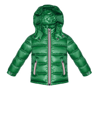Gaston Hooded Quilted Jacket Green, Sizes 2-6