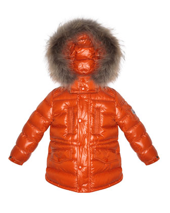 Riviere Fur-Trimmed Quilted Jacket, Orange, Sizes 2-6