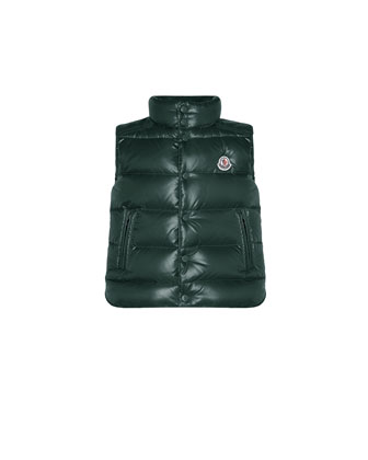 Tib Quilted Puffer Vest, Forest Green, Sizes 2-6