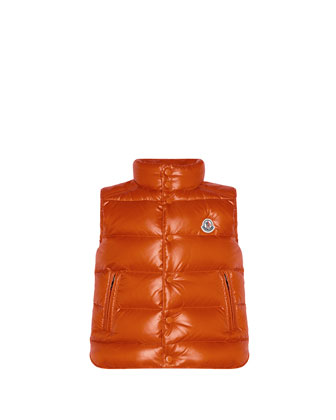 Tib Quilted Puffer Vest, Orange, Sizes 2-6