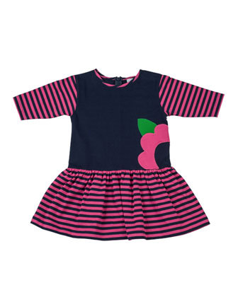 Striped Fit-and-Flare Dress, Navy/Fuchsia, 2T-4T