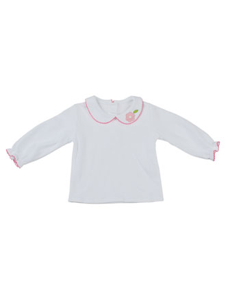 Long-Sleeve Peter-Pan Collar Shirt, White, Sizes 4-6X