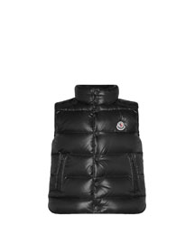 Tib Quilted Puffer Vest, Black, Sizes 8-14