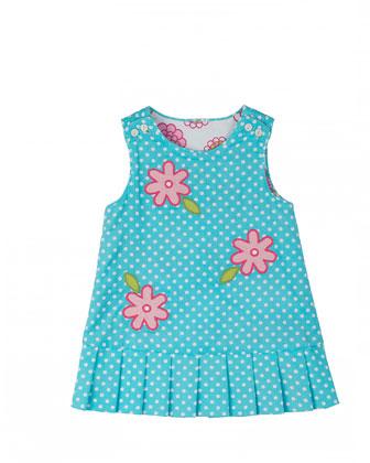 Reversible Floral Corduroy Dress, 2T-4T