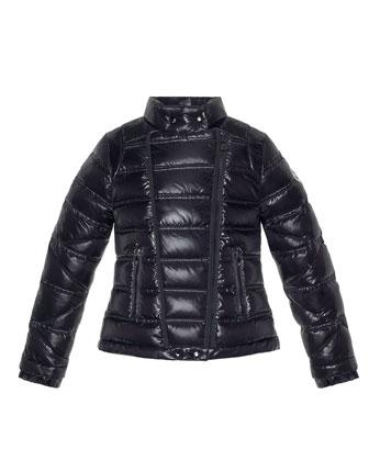 Nolwen Quilted Nylon Coat, Black