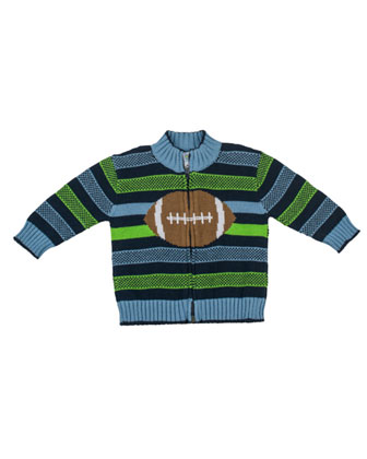 Good Sport Intarsia Zip Sweater, Multi, 2T-4T