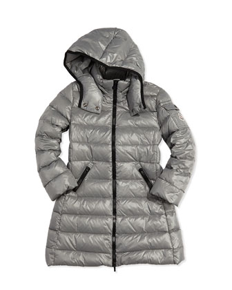 Moka Long Quilted Puffer Coat, Silver, Sizes 8-14