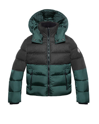 Josselin Wool and Nylon Puffer Jacket, Gray/Green, Sizes 8-14