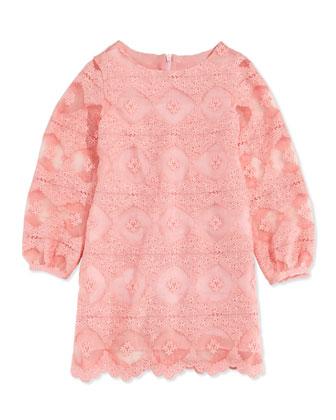 Long-Sleeve Lace Dress, Pink, Sizes 2-4