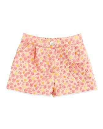 Floral-Jacquard Short, Pink, Sizes 5-8