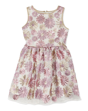 Sleeveless Sequined Floral Dress, Pink/Gold, Sizes 5-8