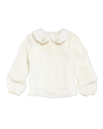 Peter Pan-Collar Blouse, Off White, 5-8