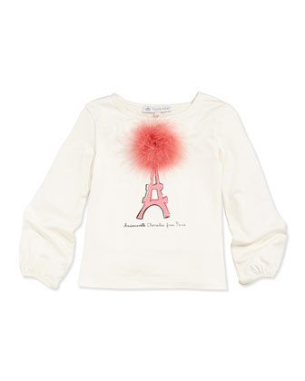 Feather-Pom Eiffel Tower-Print Shirt, Sizes 5-8