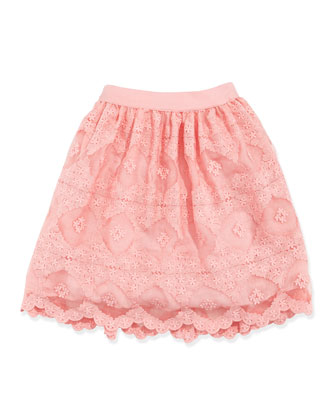Lace Organza Skirt, Pink, Sizes 5-8