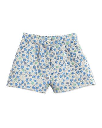 Floral-Jacquard Short, Blue, Sizes 5-8